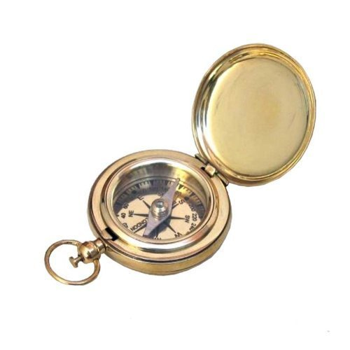 Red Sky Trader 1 3/4 Brass Face Pocket Compass W/Cover: Hiking And Camping