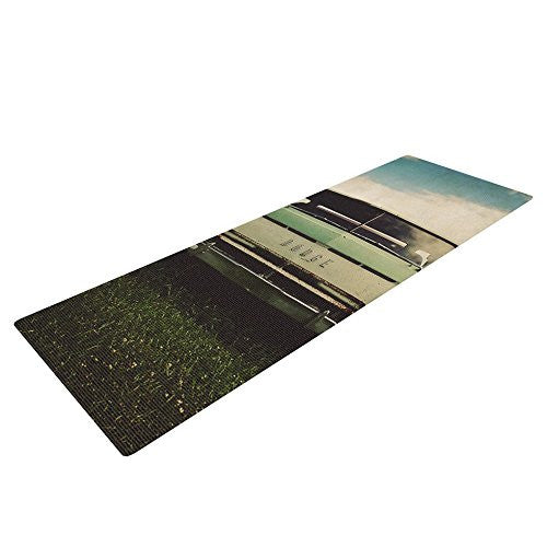 Kess In House Angie Turner Dodge Yoga Exercise Mat, Green Car, 72 X 24 Inch