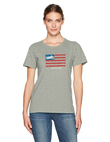 Life is Good Women's Crusher Tee Motorcycle Flag Hthgry T-Shirt, Heather Gray, Large