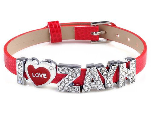 I Love Zayn I Love One Direction Red Wristband Bracelet Slider Zircon Crystal Letter