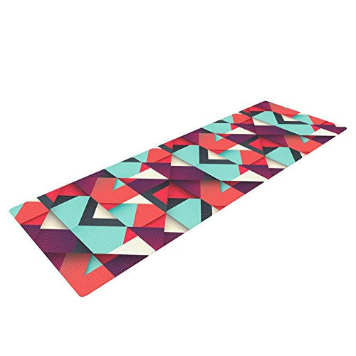Kess In House Danny Ivan Shapes Yoga Exercise Mat, Aqua/Purple, 72 X 24 Inch