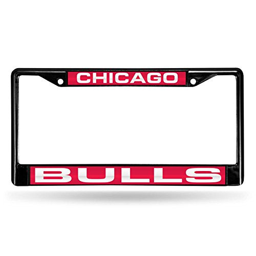 "Rico Industries NBA Chicago Bulls Laser Cut Inlaid Standard Chrome License Plate Frame, 6"" x 12.25"", Black"