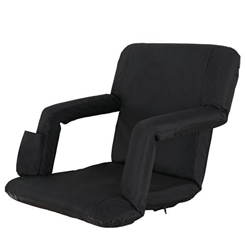 Smartxchoices Black Stadium Seat Chair Bleacher Seats 5 Reclining Positions Padded With Back Support