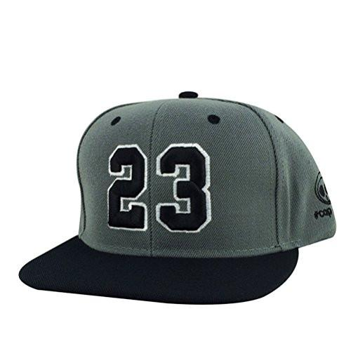 Caprobot Custom Embroidered Hat Player Jersey Number #23 Snapback Cap Charcoal Black Visor