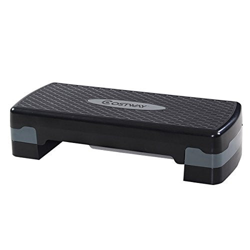"Giantex 27"" Aerobic Step Platform, Non Slip Surface, Height Adjustable 4"" 6"" Workout Fitness Equipme"