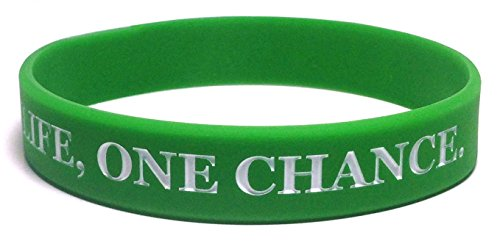 "TheAwristocrat 6 Pack ONE Life, ONE Chance. NO Regrets Inspirational Silicone Wristband Rubber Bracelet (Green, Adult (8"" 202mm))"