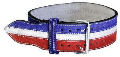 "Ader Leather Power Weight Lifting Belt  4"" R/W/B (Medium 30 35"")"