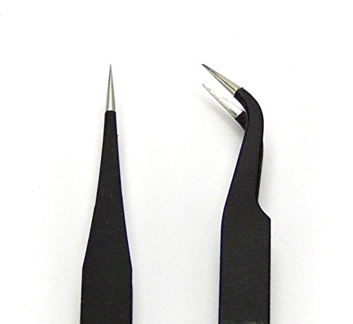 2 PCS EYELASH EXTENSION TWEEZERS STRAIGHT AND CURVED BLACK