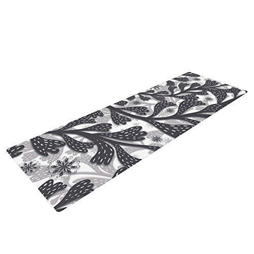 "Kess In House Akwaflorell Snow Houses Exercise Yoga Mat, Gray Abstract, 72"" By 24"""
