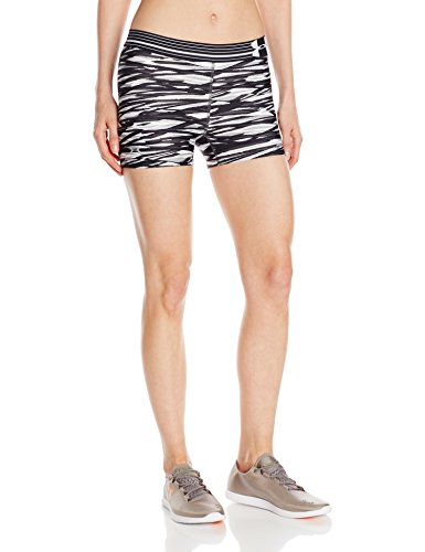 Under Armour Women's Heat Gear Armour Printed Shorty, Black (013)/Metallic Silver, X Small