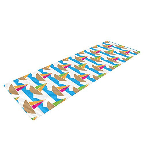 Kess In House Apple Kaur Designs Beside The Seaside Yoga Exercise Mat, Boats, 72 X 24 Inch