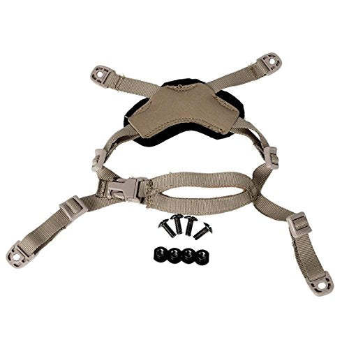 CRUSHUNT Helmet Chin Strap for Fast/MICH/ACH/IBH Tactical Helmets, X-Nape Suspension System with Bolts and Screws Black/Dark Earth (Dark Earth)