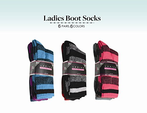 Diny Signature Brands 6 Pair Ladies Thermal Interior All Weather Boot Sock Casual & Trendy