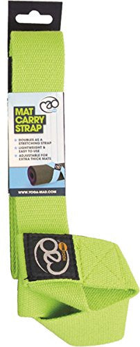 Fitness Mad Gym Exercise Easy & Adjustable Green Yoga Belt Mat Carry Strap