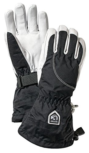 Hestra Womens Extra Warm Ski Gloves: Heli Leather Winter Cold Weather Powder Gloves, Black/Off White, 8