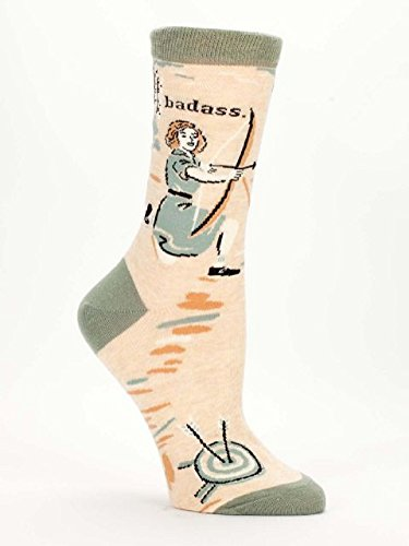 "Blue Q Women's Novelty Crew Socks ""Badass - Archer"" ( Women's Shoe Size 5-10 )"