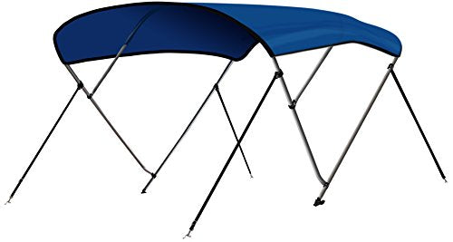 "Leader Accessories 3 Bow Pacific Blue 6'L x 46"" H x 79""-84"" W Bimini Top Boat Cover 4 Straps for Front and Rear Includes Mounting Hardwares with 1 Inch Aluminum Frame"