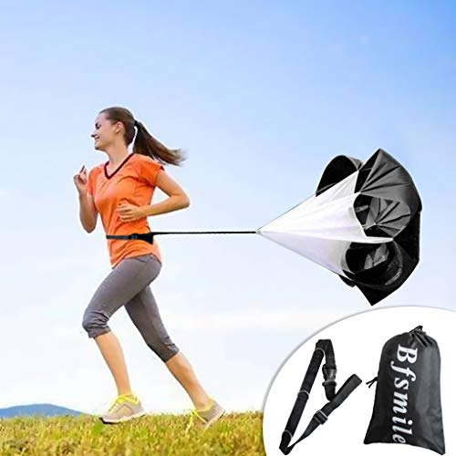 "Bfsmile Running Speed Training 56"" Parachute with Adjustable Strap, Free Carry Bag. Speed Chute Resistance Running Parachute for Kids Youth and Adults"