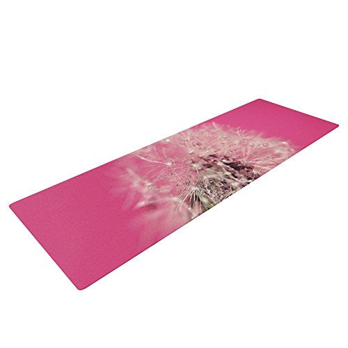 "Kess In House Beth Engel Pink Twilight Exercise Yoga Mat, Magenta Dandelion, 72"" By 24"""