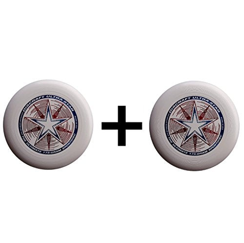 Discraft Ultra-Star Ultimate Frisbee 175 Gram Championship Disc - White (2-Pack)