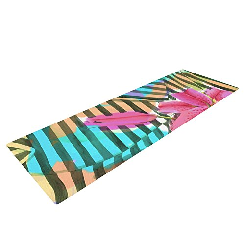 Kess In House S. Seema Z Lilly N Stripes Yoga Exercise Mat, Pink/Orange, 72 X 24 Inch
