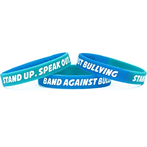 100 Adult Anti Bullying Wristbands - Debossed Color Filled Silicone Bands