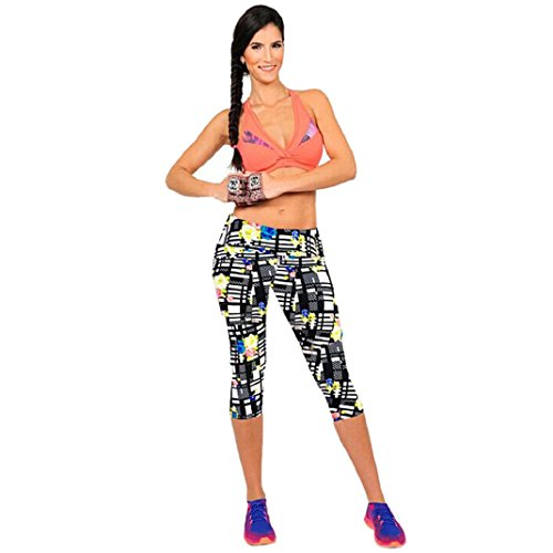 Shensee High Waist Fitness Yoga Sport Pants Printed Stretch Leggings (M, black)