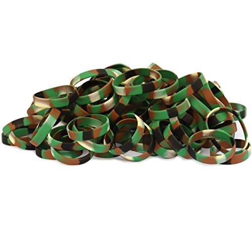 100 Child Size Camo Camouflage Wristbands for Kids Silicone Bracelets