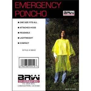 Pack of 4 Emergency Rain Poncho for Disaster preparedness kit, survival kit, rain gear, by SurvivalK