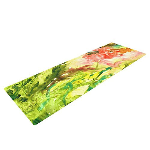 "Kess In House Rosie Brown Green Thumb Exercise Yoga Mat, Paint Lime, 72"" By 24"""