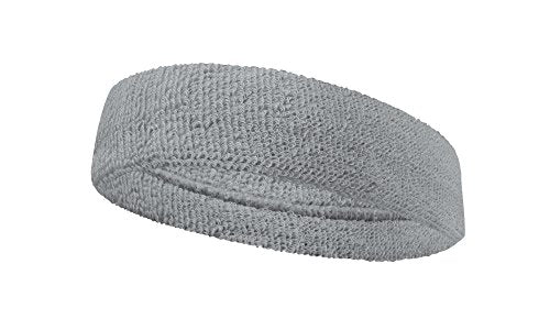 Couver Premium Quality Large Basketball Terry Cloth Head Sweatband(1 Piece)   Light Gray