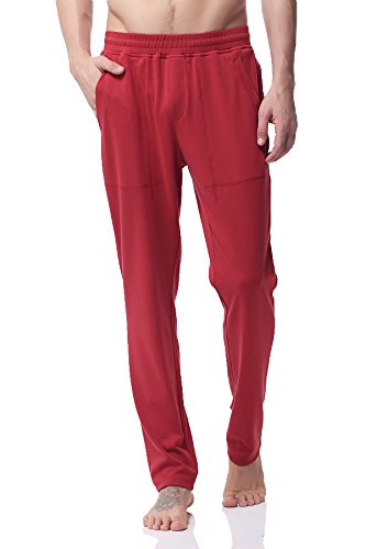 Men's Stretch Cotton Sweatpants Gym Running Training Track Yoga Pants Ph 20(S, Red)