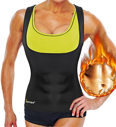 Junlan Neoprene Waist Trainer Vest for Women Corset Weight Loss Body Shaper Cincher Sauna Sweat Tank Top Workout Girdle (L, Black Sauna Top)