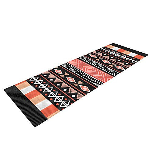 Kess In House Skye Zambrana Mojave Black Yoga Exercise Mat, Black/Red, 72 X 24 Inch