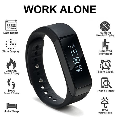 Odoland Wireless Fitness Tracker With Ture Touch Screen, Auto Sleeping Smart Wristband For Android &