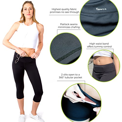 Sport It Capris High Waisted Leggings For Women   Athletic Tummy Control Pants Pockets For Running C