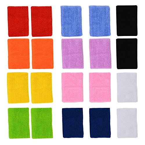 ColorYourLife 10 Pairs Colorful Sports Wristbands Wrist Sweatbands Wrist Sweat Bands