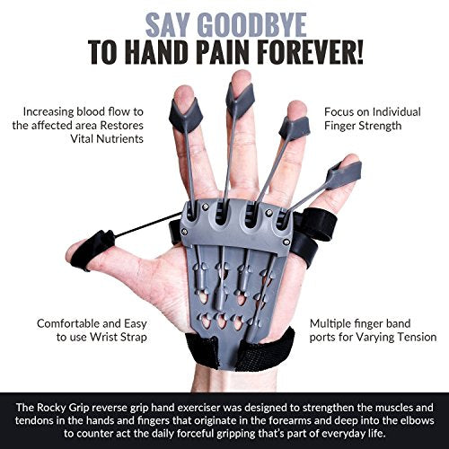 Rocky Grip Hand Strengthener Reverse Grip Hand Forearm Training Device Improves Flexibility for Musi