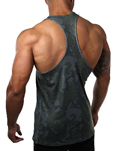 XARAZA Men's Muscle Stringer Tank Tops Athletic Workout Gym Fitness Vest T-Shirts (US-S, Army Green)