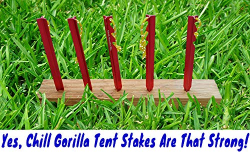 Chill Gorilla 10X Tent Stake. Heavy Duty Lightweight Strong Aluminum Alloy pegs for Camping, rain ta