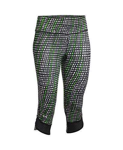 Under Armour Women's Ua Fly By Printed Capri, Black/Reflective Silver/Glow, Lg (Us 12 14) X 18