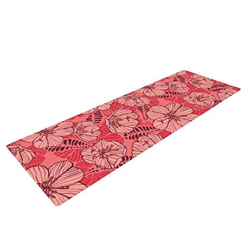 Kess In House Suzie Tremel Flutter Floral Yoga Exercise Mat, Red Petals, 72 X 24 Inch