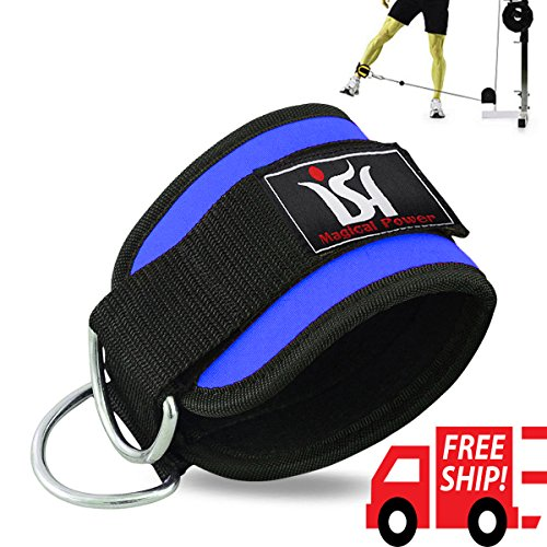 Ish Sports Gym Ankle Strap D Ring Leg Pulley Weight Lifting Work Out Multi Cable Attachment Blue Str
