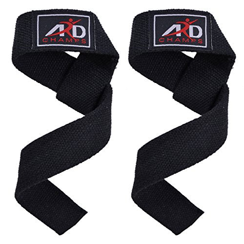 ARD CHAMPS Power Hand Bar Straps (PAIR) Weight Lifting Cotton Straps Strengthen Training Workouts Bl