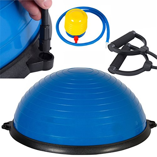 "SurSector Blue 23"" Yoga Ball Balance Trainer Yoga Fitness Pilates Strength Exercise Resistance Bands"
