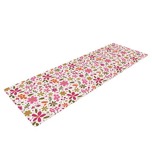 Kess In House Carolyn Greifeld Pink Flowers Garden Yoga Exercise Mat, Pink/Red, 72 X 24 Inch