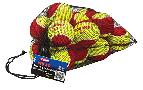 Tourna Low Compression Stage 3 Tennis Ball With Mesh Bag (18 Pack)