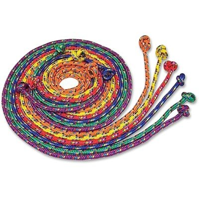Braided Nylon Jump Ropes, 8 Ft, 6 Assorted Color Jump Ropes/Set