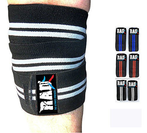 Rad 1 Pair Heavy Duty Knee Wraps For Power Lifting/Bodybuilding,Gym White & Black
