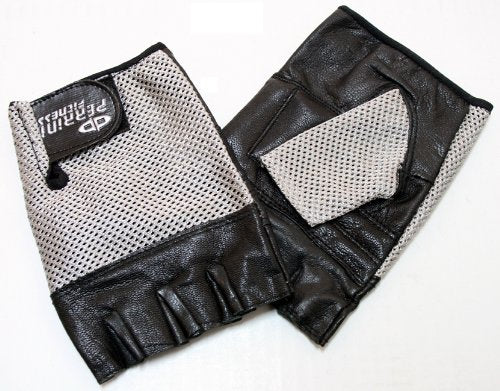 Perrini Leather Gloves Silver Color